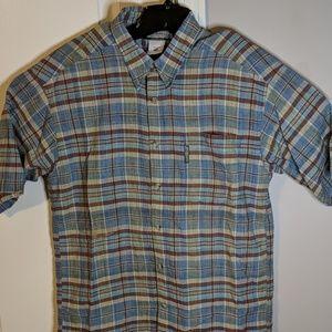 Columbia medium plaid short sleeve button down